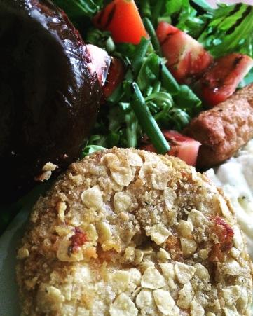 Iceland sweet potato & Bean Nacho burger and salad