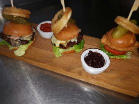 Trio of Burgers (venison, beef&chorizo, breaded chicken)